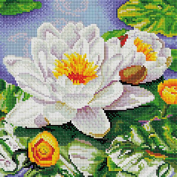 Белоснежка Мозаичная картина Нимфея озерная, 30х30 см