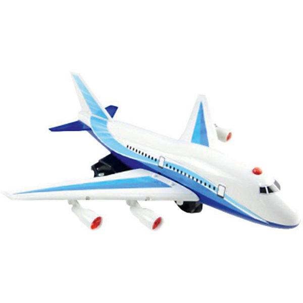 Самолет, со светом и и звуком, ABtoysСамолёты и вертолёты<br>Характеристики:<br><br>• тип игрушки: радиоупавляемые игрушки;<br>• возраст: от 3 лет;<br>• цвет: синий, белый;<br>• тип питания: батарейки АА (в комплект не входят);<br>• комплектация: самолет, джойстик, инструкция;<br>• размер: 43х8х12,5 см;<br>• бренд: Abtoys;<br>• упаковка: картонная коробка блистерного типа;<br>• материал: металл, пластик.<br><br>Радиоуправляемый самолет со светом и звуком от бренда Abtoys станет отличным подарком для ребенка от трех лет. Радиоуправляемая модель самолета «А-630» снабжена звуковыми и световыми эффектами, передвигается вперёд и назад и совершает повороты. Все эти функции сделают игру с самолетом интересной и увлекательной. Модель управляется с помощью удобного и эргономичного джойстика. Корпус самолета украшен наклейками.<br><br>Благодаря такой игрушке у ребенка будет развиваться координация движений, глазомер, ловкость и быстрота реакции.<br>Самолет и аксессуары изготовлены из безопасного пластика, который прошел всю необходимую сертификацию. Каждый предмет окрашен нетоксичными насыщенными красителями. <br>Радиоуправляемый самолет со светом и звуком от бренда Abtoys можно купить в нашем интернет-магазине.<br>Ширина мм: 280; Глубина мм: 80; Высота мм: 115; Вес г: 300; Возраст от месяцев: 36; Возраст до месяцев: 120; Пол: Мужской; Возраст: Детский; SKU: 5500909;