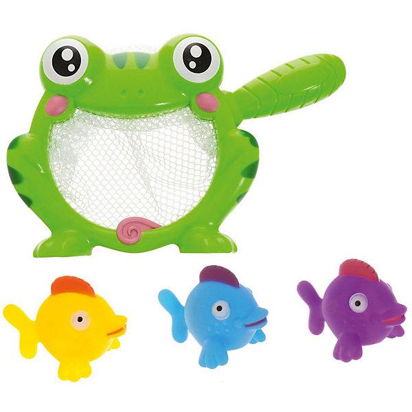 ABtoys Набор резиновых игрушек для ванной Веселое купание: 3 рыбки и лягушка-сачок, 4 предм., ABtoys игрушка abtoys веселое купание pt 00541