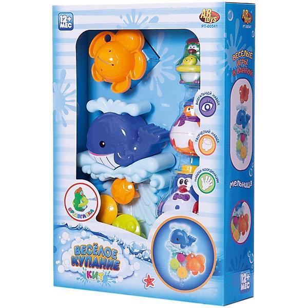 Игрушки для ванной, с аксессуарами (5 предметов), Веселое купание, ABtoysИгрушки для ванной<br>Характеристики:<br><br>• тип игрушки: игрушки для ванной;<br>• возраст: от 1 года;<br>• вес: 319 гр;<br>• комплектация: 3 пингвина, кит с мельницей, черепашка;<br>• размер: 25,7x8x37 см;<br>• бренд: Abtoys;<br>• упаковка: картонная коробка блистерного типа;<br>• материал: резина.<br><br>Игрушки для ванной с аксессуарами из пяти предметов из серии «Веселое купание» от бренда ABtoys станет отличным подарком для ребенка от одного года. Игрушки яркие, приятные на ощупь и не тонут, по этому порадуют любого ребенка и сделают купание веселым и легким процессом. При этом игрушкам не страшна вода, потому что все детали изготовлены из качественного пластика и покрыты влагоустойчивыми красителями.<br><br>С такой игрой ребенок не только весело проведет время, но и сможет развить цветовое восприятие, концентрацию внимания, ловкость, тактильные ощущения и координацию.<br><br>Все детали игрушки изготовлены из безопасного пластика, который прошел всю необходимую сертификацию. Каждый предмет окрашен нетоксичными насыщенными красителями.<br><br>Игрушки для ванной с аксессуарами из пяти предметов из серии «Веселое купание» от бренда ABtoys можно купить в нашем интернет-магазине.<br>Ширина мм: 257; Глубина мм: 370; Высота мм: 80; Вес г: 319; Возраст от месяцев: 36; Возраст до месяцев: 96; Пол: Унисекс; Возраст: Детский; SKU: 5500936;