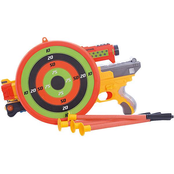 ABtoys Арбалет со стрелами на присосках (3 стрелы, мишень и держатель для стрел), желтый,
