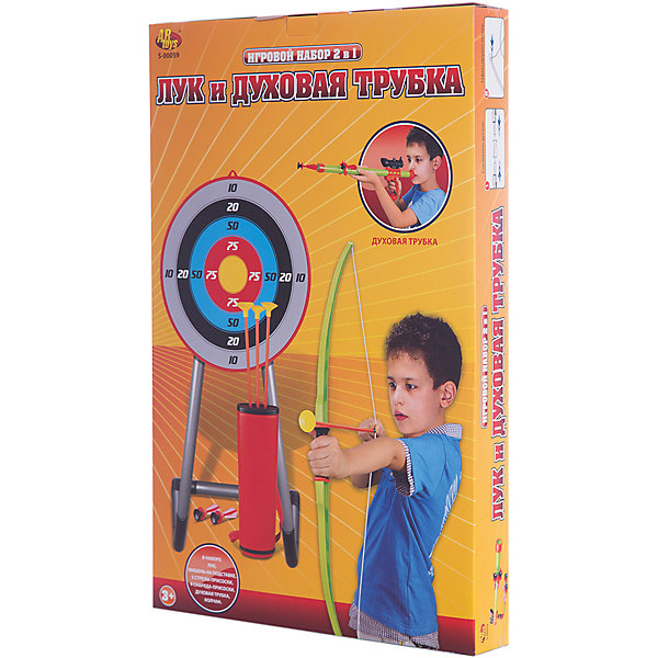 ABtoys Лук со стрелами на присосках и духовая трубка (3 стрелы, 4 снаряда, мишень колчан),
