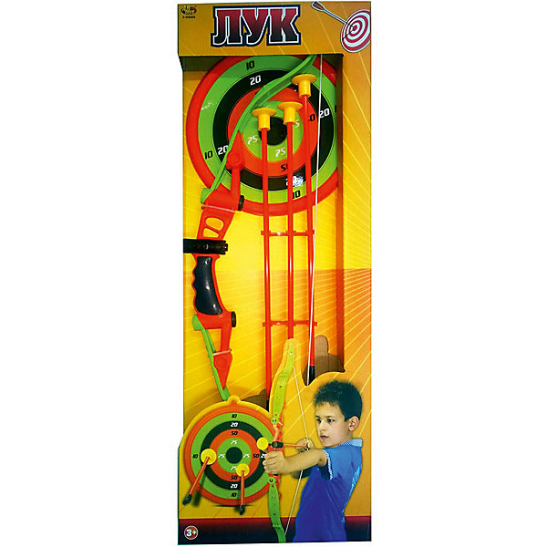 Лук со стрелами на присосках (3 стрелы, лук и мишень,), ABtoysИгровые наборы<br>Характеристики:<br><br>• тип игрушки: игровой набор;<br>• возраст: от 3 лет;<br>• вес: 600 гр;<br>• длинна лука: 60 см;<br>• комплектация: лук, три стрелы, мишень;<br>• размер: 25х5х66 см;<br>• бренд: Abtoys;<br>• упаковка: картонная коробка;<br>• материал: резина, пластик.<br><br>Лук со стрелами на присосках и мишенью от бренда ABtoys станет отличным подарком для ребенка от трех лет. Поможет устроить увлекательную игру в тир. И при этом не нужно будет переживать за безопасность ребенка, потому что у всех стрел плоские резиновые наконечники.<br><br>С таким набором ребенок сможет развить координацию движений, меткость и представить себя в роли любимого героя. В наборе лук, три стрелы и мишень. Его удобно держать благодаря эргономичной конструкции, а стрелы просто попадают в цель из-за своего небольшого веса.<br><br>И лук и другие аксессуары изготовлены из безопасного пластика, который прошел всю необходимую сертификацию. Каждый предмет окрашен нетоксичными насыщенными красителями. Так же стоит уточнить, что перед началом использования игрушки родители должны объяснить детям, что нельзя стрелять в людей и животных.<br><br>Лук со стрелами на присосках и мишенью от бренда ABtoys можно купить в нашем интернет-магазине.<br>Ширина мм: 245; Глубина мм: 655; Высота мм: 45; Вес г: 611; Возраст от месяцев: 36; Возраст до месяцев: 144; Пол: Мужской; Возраст: Детский; SKU: 5500947;