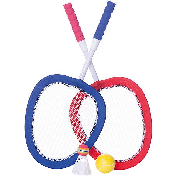 ABtoys Набор Бадминтон и теннис, 2 в 1, 4 предмета, в сетке, ABtoys теннис
