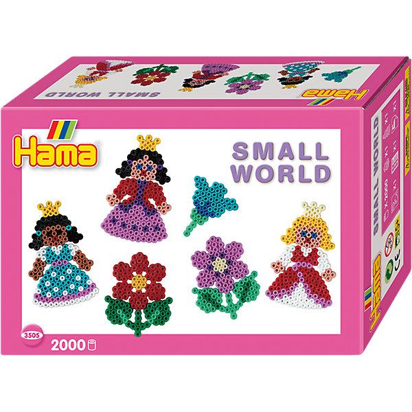 Термомозаика Hama Perlen Маленький мир + 2 основы, 2000 бусинТермомозаика<br>Характеристики:<br><br>• возраст: от 5 лет;<br>• материал: пластик;<br>• комплектация: бусины  2000 шт.,  микс, основа цветок, размер 8*6,5*0,5 см., основа принцесса, размер 10*6,5*0,5 см., цветная книжечка с примерами, термобумага, инструкция;<br>• вес: 200 гр;<br>• размер: 17x17х6 см;<br>• бренд: Hama Perlen.<br><br>Набор «Маленький мир» 2000 деталей, принцесса/цветок подходит для детей от 5 лет для развития. Представленный набор позволяет развивать моторику рук, усидчивость и внимательность. <br><br>Используя разноцветные бусины создать яркую фигурку просто: соберите фигурку из бусин, сверху покройте гладильной бумагой и соедините бусины с помощью утюга, и великолепная фигурка готова! <br><br>Набор «Маленький мир» 2000 деталей, принцесса/цветок можно купить в нашем интернет-магазине.<br>Ширина мм: 181; Глубина мм: 124; Высота мм: 63; Вес г: 182; Возраст от месяцев: 60; Возраст до месяцев: 120; Пол: Женский; Возраст: Детский; SKU: 5501098;