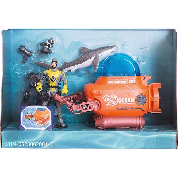 Набор: Батискаф акванавтов, Chap MeiИгровые наборы с фигурками<br>Набор: Батискаф акванавтов, Chap Mei (Чап Мей)<br><br>Характеристики:<br><br>• батискаф имеет подвижные клешни<br>• материал: пластик<br>• в комплекте: батискаф, фигурка акванавта, фигурка акулы<br>• размер упаковки: 45х11,5х15,2 см<br>• вес: 758 грамм<br><br>Акванавты - исследователи морских глубин. Безусловно, их профессия очень интересна, но, кроме того, она еще и опасна. Справится ли отважный акванавт с нападением акулы? Исход этой битвы будет зависеть только от вашего воображения! Набор Chap Mei состоит из батискафа, фигурки акванавта и акулы. Батискаф оснащен подвижными клешнями для большей реалистичности игры. <br><br>Набор: Батискаф акванавтов, Chap Mei (Чап Мей) вы можете купить в нашем интернет-магазине.<br>Ширина мм: 273; Глубина мм: 102; Высота мм: 178; Вес г: 758; Возраст от месяцев: 36; Возраст до месяцев: 2147483647; Пол: Мужской; Возраст: Детский; SKU: 5503294;