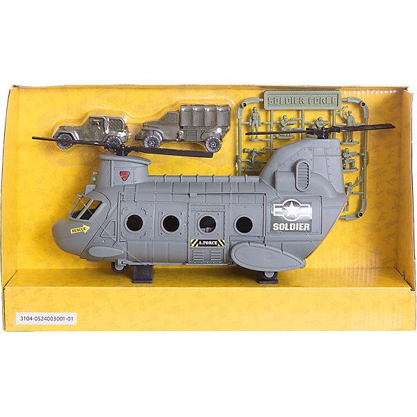 Набор: НАНО-АРМИЯ. Транспортный вертолет с наполнениемВоенный транспорт<br>Набор: НАНО-АРМИЯ. Транспортный вертолет с наполнением, Chap Mei  (Чап Мей)<br><br>Характеристики:<br><br>• в комплекте: вертолет, 12 солдатиков, 2 транспортных средства<br>• материал: пластик<br>• размер упаковки: 35,5х9х21 см<br>• вес: 970 грамм<br><br>Игровой набор Chap Mei дополнит военную базу ребенка и поможет ему весело провести время. Большой вертолет дополнен джипом и грузовиком, необходимыми для транспортировки военных. В комплект входят 12 солдатиков, которым малыш сможет отдать приказы. Привлекательный дизайн и реалистичные детали - то, что нужно для веселой игры.<br><br>Набор: НАНО-АРМИЯ. Транспортный вертолет с наполнением можно купить в нашем интернет-магазине.<br>Ширина мм: 355; Глубина мм: 89; Высота мм: 210; Вес г: 970; Возраст от месяцев: 36; Возраст до месяцев: 2147483647; Пол: Мужской; Возраст: Детский; SKU: 5503298;