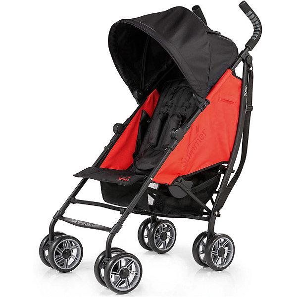Коляска-трость Summer Infant 3D Flip, черный/красныйКоляски-трости<br>Характеристики коляски:<br><br>• спинка коляски опускается до горизонтального положения, регулируется в 6-ти позициях;<br>• двустороннее сиденье прогулочного блока позволяет использовать коляску в двух направлениях движения;<br>• ребенок может лежать или сидеть в коляске как лицом по ходу движения, так и лицом против хода движения;<br>• показатели роста и веса ребенка: до 22,7 кг и 109 см в положении «лицом вперед» и 11,3 кг и 76 см в положении «спинкой вперед»;<br>• капюшон регулируется по высоте и глубине, диапазон раскладывания составляет 180 градусов;<br>• капюшон оснащен смотровым окошком под клапаном на липучке;<br>• имеется кармашек для мелких аксессуаров;<br>• 5-ти точечные ремни безопасности с мягкими накладками надежно удерживают ребенка в прогулочном блоке;<br>• корзина для покупок, нагрузка 4,5 кг;<br>• подстаканник в комплекте;<br>• сдвоенные колеса, передние колеса оснащены поворотным механизмом с блокировкой, задние колеса – ножным тормозом;<br>• диаметр колес: 15 см;<br>• для переноски коляски в сложенном виде используется плечевой ремень;<br>• коляска складывается компактной «тростью».<br><br>Обратите внимание: <br><br>• коляска без бампера;<br>• подножка имеет одно положение;<br>• ручки коляски находятся на фиксированной высоте.<br><br>Размер коляски: 69х46х109 см<br>Размер коляски в сложенном виде: 102х32,5х24,5 см<br>Вес коляски: 8 кг<br>Вес в упаковке: 9 кг<br><br>Коляска-трость 3D Flip – полноценная летняя коляска с возможностью установки спинки в горизонтальном положении. Ребенок может спать в естественном положении тела, когда спинка, головка и ножки находятся в одной плоскости. Прогулочное сиденье является двусторонним, спинка может опускаться под углом 180 градусов в одну и другую сторону, высокие боковинки устанавливаются таким образом, что ребенок полностью защищен в коляске. Пока ребенок совсем маленький, рекомендуется везти его лицом к маме, а подросшего ребенка лучше