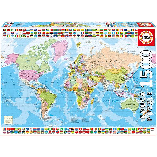 Пазл Политическая карта мира, 1500 деталей, EducaПазлы классические<br>Характеристики товара:<br><br>• возраст: от 6 лет;<br>• количество деталей: 1500;<br>• размер собранной картины: 85х60 см.;<br>• наличие клея: в комплекте;<br>• материал: картон;<br>• упаковка: картонная каробка;<br>• вес: 1,1 кг.;<br>• бренд, страна бренда: Educa (Эдука), Испания;<br>• страна-производитель: Испания.<br>                                                                                                                                                                                                                                                                                                                       <br>Пазл «Политическая карта мира», состоящий из 1500 элементов, придется по душе всей вашей семье. Собрав этот пазл, вы получите картинку с изображением политической карты мира.<br><br>Пазл выполнен из высококачественных материалов, что обеспечивает идеальное прилегание элементов друг к другу. В комплекте специальный сухой клей, чтобы после сборки склеить части мозайки и сохранить прочность собранной картины на долгое время.<br><br>Собирание пазлов это не только интересно, но и полезно: ведь в процессе создания картинки развивается мелкая моторика, тренируются наблюдательность и логическое мышление.<br><br>Испанская компания Educa Borras, SA выпускает пазлы различной сложности и имеет уникальный сервис: бесплатную доставку в любую точку мира потерянной детали.<br><br>Пазл «Политическая карта мира», 1500 деталей,  Educa (Эдука) можно купить в нашем интернет-магазине.<br>Ширина мм: 430; Глубина мм: 300; Высота мм: 55; Вес г: 1164; Возраст от месяцев: 60; Возраст до месяцев: 2147483647; Пол: Унисекс; Возраст: Детский; SKU: 5514288;