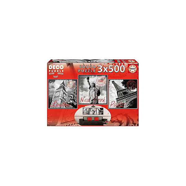 Пазлы Большие города, 500 деталей, EducaПазлы классические<br>Характеристики товара:<br><br>• возраст: от 6 лет;<br>• количество пазлов и деталей: 3х500;<br>• размер 1 собранной картины: 40,5х40 см.;<br>• наличие клея: в комплекте;<br>• материал: картон;<br>• упаковка: картонная каробка;<br>• вес: 1,1 кг.;<br>• бренд, страна бренда: Educa (Эдука), Испания;<br>• страна-производитель: Испания.<br>                                                                                                                                                                                                                                                                                                                       <br>Набор пазлов «Большие города» непременно придутся по душе вам и вашему ребенку. Набор  включает в себя 3 пазла по 500 элементов. Собрав эти пазлы, вы получите картинки с изображениями достопримечательностей Лондона, Нью-Йорка и Парижа. <br><br>Все картинки выполнены в серо-белом цвете.Пазл выполнен из высококачественных материалов, что обеспечивает идеальное прилегание деталей. Кроме того, после сборки вы сможете склеить части мозаики. Специальный клей входит в комплект.<br><br>Пазл - великолепная игра для семейного досуга. Сегодня собирание пазлов стало особенно популярным, главным образом, благодаря своей многообразной тематике, способной удовлетворить самый взыскательный вкус. А для детей это не только интересно, но и полезно. Собирание пазла развивает мелкую моторику у ребенка, тренирует наблюдательность, логическое мышление, знакомит с окружающим миром, с цветом и разнообразными формами.<br><br>Испанская компания Educa Borras, SA выпускает пазлы различной сложности и имеет уникальный сервис: бесплатную доставку в любую точку мира потерянной детали.<br><br>Набор пазлов «Большие города», 3х500 деталей,  Educa (Эдука) можно купить в нашем интернет-магазине.<br>Ширина мм: 300; Глубина мм: 430; Высота мм: 55; Вес г: 1136; Возраст от месяцев: 60; Возраст до месяцев: 2