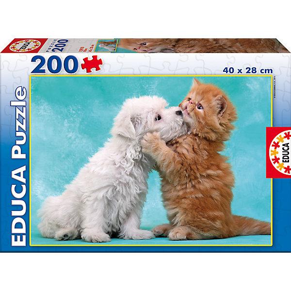 Пазл Нежные объятья, 200 деталей, EducaПазлы классические<br>Характеристики товара:<br><br>• возраст: от 6 лет;<br>• количество деталей: 200;<br>• размер собранной картины: 40х28 см.;<br>• наличие клея: в комплекте;<br>• материал: картон;<br>• упаковка: картонная каробка;<br>• вес: 245 гр.;<br>• бренд, страна бренда: Educa (Эдука), Испания;<br>• страна-производитель: Испания.<br>                                                                                                                                                                                                                                                                                                                       <br>Пазл «Нежные объятия», состоящий из 200 элементов, придется по душе всей вашей семье. Собрав этот пазл, вы получите оригинальный постер с милым изображением щеночка и котенка. <br><br>Пазл выполнен из высококачественных материалов, что обеспечивает идеальное прилегание элементов друг к другу. В комплекте специальный сухой клей, чтобы после сборки склеить части мозайки и сохранить прочность собранной картины на долгое время.<br><br>Собирание пазлов это не только интересно, но и полезно: ведь в процессе создания картинки развивается мелкая моторика, тренируются наблюдательность и логическое мышление.<br><br>Испанская компания Educa Borras, SA выпускает пазлы различной сложности и имеет уникальный сервис: бесплатную доставку в любую точку мира потерянной детали.<br><br>Пазл «Нежные объятия», 200 деталей,  Educa (Эдука) можно купить в нашем интернет-магазине.<br>Ширина мм: 215; Глубина мм: 315; Высота мм: 45; Вес г: 376; Возраст от месяцев: 36; Возраст до месяцев: 2147483647; Пол: Унисекс; Возраст: Детский; SKU: 5514304;