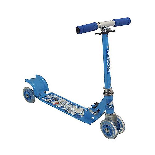 Самокат четырехколесный, колеса 98мм PVC, голубой, Charmingsports