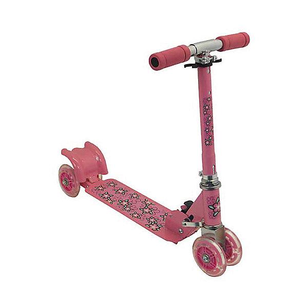 Самокат четырехколесный, колеса 98мм PVC, розовый, CharmingsportsСамокаты<br>Основные характеристики<br><br>Тип: четырехколесный, складной<br>Материал рамы: 100% сталь<br>Материал ручек: вспененный полипропилен<br>Размер деки: 330х105мм (с порошковым напылением)<br>Регулируемая высота рулевой стойки (макс. - 66см)<br>Материал колёс: поливинилхлорид<br>Размер колёс: 98мм (светящиеся)<br>Подшипник: ABEC-5<br>Максимальный вес пользователя: 20кг<br>Вес: 2.17кг<br>Цвет: розовый<br>Вид использования: любительское катание на самокате<br>Страна-производитель: Китай<br>Упаковка: индивидуальная цветная коробка<br><br>Преимущества самоката CMS010:<br><br>- необычные светящиеся колеса;<br>- простая в использовании система торможения с помощью заднего колеса (достаточно наступить на педаль тормоза, расположенную над задним колесом);<br>- надежная устойчивая складная конструкция;<br>- мягкие ручки.<br>Ширина мм: 540; Глубина мм: 100; Высота мм: 160; Вес г: 2170; Возраст от месяцев: 36; Возраст до месяцев: 84; Пол: Унисекс; Возраст: Детский; SKU: 5514779;