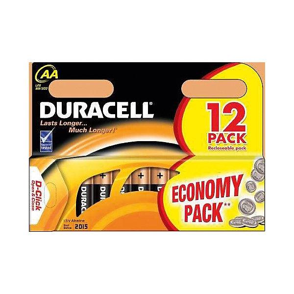Купить Батарейки алкалиновые Basic 1.5V LR6, тип AA, 12шт., DURACELL, -, Бельгия, Унисекс