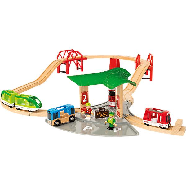 BRIO Железная дорога BRIO с автовокзалом, 2 мостами, 25 деталей