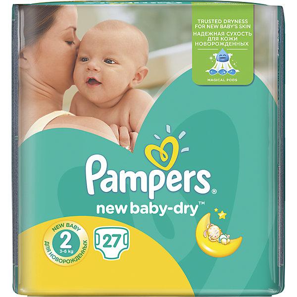 Подгузники Pampers New Baby-Dry Mini, 3-6 кг, 2 размер, 27 шт., PampersПодгузники классические<br>Характеристики:<br><br>• Пол: универсальный<br>• Тип подгузника: одноразовый<br>• Коллекция: New Baby-Dry<br>• Предназначение: для использования в любое время суток <br>• Размер: 2<br>• Вес ребенка: от 3 до 6 кг<br>• Количество в упаковке: 27 шт.<br>• Упаковка: пакет<br>• Размер упаковки: 20,6*11,4*18,8 см<br>• Вес в упаковке: 597 г<br>• Эластичные застежки-липучки<br>• Быстро впитывающий слой<br>• Мягкий верхний слой<br>• Сохранение сухости в течение 12-ти часов<br><br>Подгузники Pampers New Baby-Dry, 3-6 кг, 2 размер, 27 шт., Pampers – это линейка классических детских подгузников от Pampers, которая сочетает в себе качество и безопасность материалов, удобство использования и комфорт для нежной кожи малыша. Подгузники предназначены для новорожденных и младенцев весом до 6 кг. Инновационные технологии и современные материалы обеспечивают этим подгузникам Дышащие свойства, что особенно важно для кожи малыша. <br><br>Впитывающие свойства изделию обеспечивает уникальный слой, состоящий из жемчужных микрогранул. У подгузников предусмотрена эластичная мягкая резиночка на спинке. Широкие липучки с двух сторон обеспечивают надежную фиксацию. Подгузник имеет мягкий верхний слой, который обеспечивает не только комфорт, но и защищает кожу ребенка от раздражений. Подгузник подходит как для мальчиков, так и для девочек. <br><br>Подгузники Pampers New Baby-Dry, 3-6 кг, 2 размер, 27 шт., Pampers можно купить в нашем интернет-магазине.<br>Ширина мм: 206; Глубина мм: 114; Высота мм: 188; Вес г: 597; Возраст от месяцев: 1; Возраст до месяцев: 3; Пол: Унисекс; Возраст: Детский; SKU: 5516302;