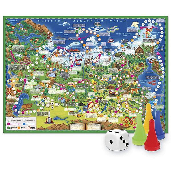 Игра-ходилка с фишками Путешествие по РоссииХиты продаж<br>Характеристики товара:<br><br>• возраст от 6 лет;<br>• материал: картон;<br>• количество игроков: от 2 до 4<br>• время одной игры: от 20 минут<br>• в комплекте: игровое поле, 4 фишки, кубик;<br>• размер игрового поля 59х42 см;<br>• размер упаковки 31х23х2 см;<br>• страна производитель: Россия.<br><br>Игра-ходилка «Путешествие по России» ГеоДом отправит в увлекательное путешествие по нашей стране. На игровом поле изображены известные достопримечательности. Бросая кубик, надо продвигаться вперед, преодолевая путь от Калининграда до Владивостока. На пути дети познакомятся с самыми красивыми городами и уголками нашей страны.<br><br>Игру-ходилку «Путешествие по России» ГеоДом можно приобрести в нашем интернет-магазине.<br>Ширина мм: 595; Глубина мм: 420; Высота мм: 50; Вес г: 83; Возраст от месяцев: 36; Возраст до месяцев: 2147483647; Пол: Унисекс; Возраст: Детский; SKU: 5518172;