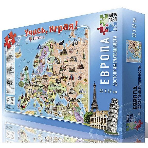 ГеоДом Карта-пазл Европа. Достопримечательности, 260 деталей геодом пазл для малышей животные курочка