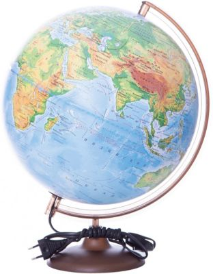 Глобус Земли физический с подсветкой, диаметр 320 мм, артикул:5518200 - Глобусы
