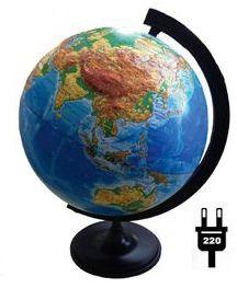 Глобус Земли физический рельефный с подсветкой, диаметр 320 мм, артикул:5518202 - Глобусы