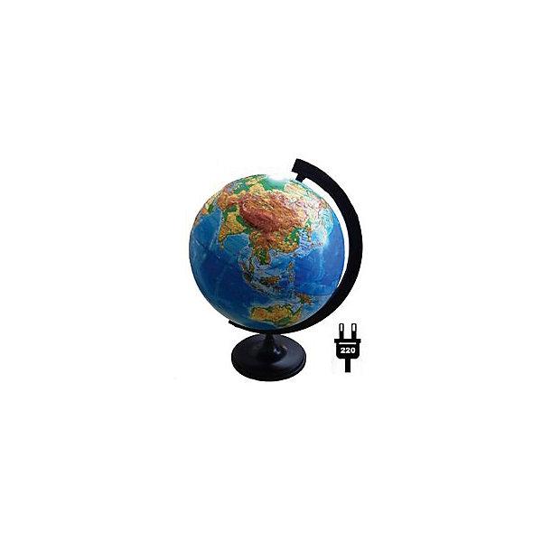 Глобусный Мир Глобус Земли физический рельефный с подсветкой, диаметр 320 мм глобус земли ландшафтный рельефный на треугольнике с подсветкой диаметр 210 мм