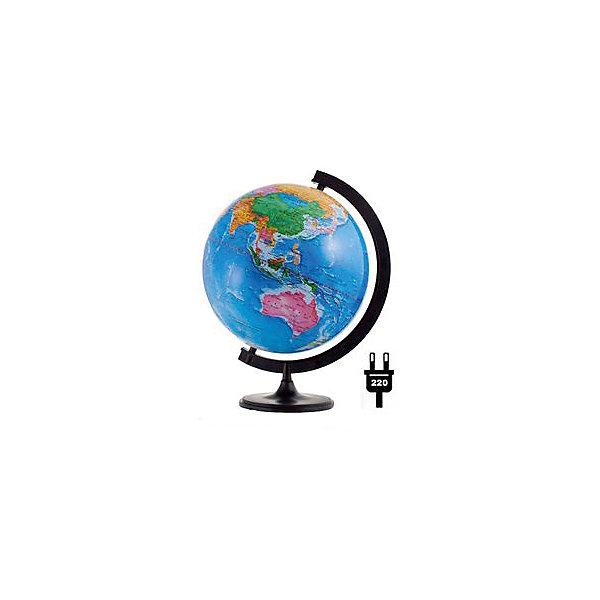 Глобус Земли политический с подсветкой, диаметр 320 ммГлобусы<br>Характеристики товара:<br><br>• возраст от 6 лет;<br>• материал: пластик;<br>• работает от сети<br>• цвет подставки: чёрный<br>• диаметр глобуса 320 мм;<br>• масштаб 1:40000000;<br>• размер упаковки 34,3х34,3х35,5 см;<br>• вес упаковки 1,035 кг;<br>• страна производитель: Россия.<br><br>Глобус Земли политический с подсветкой, 320 мм Глобусный мир — уменьшенная копия нашей планеты. Глобус станет отличным дополнением для школьника или студента. Он представляет собой политическую карту мира со странами, их границами, столицами и городами. Глобус оснащен подсветкой, которая работает от сети.<br><br>Глобус Земли политический с подсветкой, 320 мм Глобусный мир можно приобрести в нашем интернет-магазине.<br>Ширина мм: 343; Глубина мм: 343; Высота мм: 355; Вес г: 1035; Возраст от месяцев: 72; Возраст до месяцев: 2147483647; Пол: Унисекс; Возраст: Детский; SKU: 5518212;