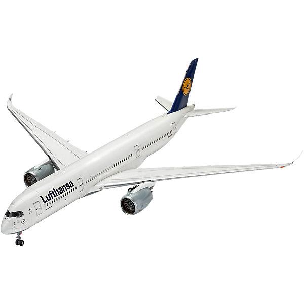 Пассажирский самолет Airbus A350-900 авиакомпании LufthansaСамолеты и вертолеты<br>Характеристики товара:<br><br>• возраст: от 10 лет;<br>• масштаб: 1:144;<br>• количество деталей: 120 шт;<br>• материал: пластик; <br>• клей и краски в комплект не входят;<br>• длина модели: 46,4 см;<br>• бренд, страна бренда: Revell (Ревел),Германия;<br>• страна-изготовитель: Китай.<br><br>Сборная модель «Пассажирский самолет Airbus A350-900 авиакомпании Lufthansa» поможет вам и вашему ребенку придумать увлекательное занятие на долгое время и заполнит досуг веселой игрой. <br><br>Набор включает в себя 120 элементов из высококачественного пластика, которые быстро и надежно сцепливаются между собой, и с помощью которых, можно собрать достоверную уменьшенную копию настоящего аэробуса.<br> <br>Процесс сборки развивает интеллектуальные и инструментальные способности, воображение и конструктивное мышление, а также прививает практические навыки работы со схемами и чертежами. <br><br>Обращаем ваше внимание на тот факт, что для сборки этой модели клей и краски в комплект не входят. <br><br>Сборную модель «Пассажирский самолет Airbus A350-900 авиакомпании Lufthansa», 120 дет., Revell (Ревел) можно купить в нашем интернет-магазине.<br>Ширина мм: 539; Глубина мм: 210; Высота мм: 71; Вес г: 608; Возраст от месяцев: 144; Возраст до месяцев: 192; Пол: Мужской; Возраст: Детский; SKU: 5518787;