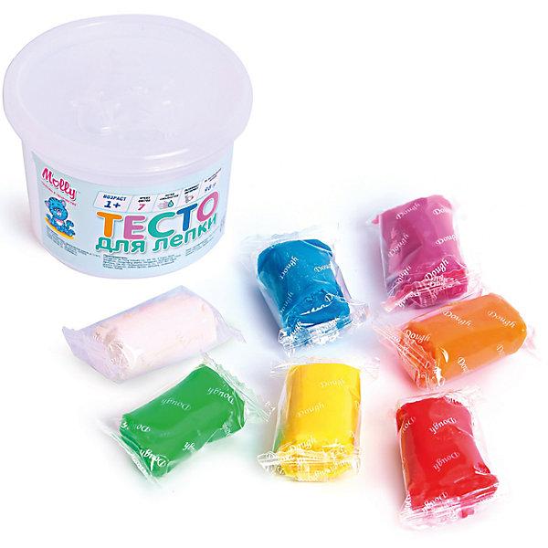 Тесто для лепки 7 цветовТесто для лепки<br>Тесто для лепки 7 цветов.<br><br>Характеристики:<br><br>• Для детей в возрасте: от 1 года<br>• В наборе: 7 брусков разных цветов в индивидуальных упаковках (98 гр.)<br>• Цвета: желтый, белый, красный, синий, зеленый, фиолетовый, оранжевый<br>• Длина бруска теста: 4 см.<br>• Состав: пшеничная мука крахмал, вода, соль, пищевая добавка, пищевой краситель<br>• Упаковка: пластиковая банка с крышкой<br>• Размеры упаковки: 6х6х6 см.<br>• Вес в упаковке: 100 гр.<br><br>Тесто для лепки ярких насыщенных цветов от торговой марки Molly предназначено для самых маленьких. Мягкий и пластичный материал удобен для ребенка, он не пачкает одежду, легко смывается с рук. Тесто разных цветов хорошо смешивается между собой, благодаря чему можно создавать бесконечное множество оттенков. Тесто может использоваться многократно при условии правильного хранения. Готовые подделки застывают на воздухе, не крошатся, обладают достаточной прочностью, после полного высыхания их можно раскрасить красками. <br><br>Тесто для лепки 7 цветов можно купить в нашем интернет-магазине.<br>Ширина мм: 600; Глубина мм: 600; Высота мм: 550; Вес г: 100; Возраст от месяцев: 36; Возраст до месяцев: 2147483647; Пол: Унисекс; Возраст: Детский; SKU: 5519348;