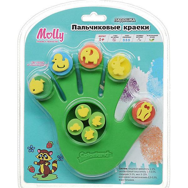 Пальчиковые краски со штампиками Ладошка, 5 цветов, зеленаяПальчиковые краски<br>Пальчиковые краски со штампиками Ладошка зеленая, 5 цветов.<br><br>Характеристики:<br><br>• Для детей в возрасте: от 1 года<br>• В наборе: 5 разноцветных баночек с краской по 10,5 мл, 9 штампиков (животные 5шт., предметы окружающего мира 4 шт.)<br>• Цвета красок: красный, желтый, зеленый, синий, оранжевый<br>• Состав: пищевой краситель, целлюлозный загуститель, глицерин, мел, консервант косметический, вода питьевая<br>• Без фенола и формальдегида<br>• Размер ладошки: 16,5х15,5 см.<br>• Размер упаковки: 24х19,5х4 см.<br>• Рекомендуется для правшей<br>Краски разработаны специально для рисования пальчиками или ладошками для детей от 1 года. Благодаря своему составу краски отлично смываются с рук и отстирываются с одежды, а их консистенция позволяет смешивать различные цвета, получая новые уникальные оттенки. Краски изготовлены из натуральных ингредиентов, нетоксичны и полностью безопасны для ребенка. Краски идеально подходят для раннего обучения цветам, развития тонкой моторики, тактильного восприятия.<br><br>Пальчиковые краски со штампиками Ладошка зеленая, 5 цветов можно купить в нашем интернет-магазине.<br>Ширина мм: 195; Глубина мм: 245; Высота мм: 300; Вес г: 250; Возраст от месяцев: 36; Возраст до месяцев: 2147483647; Пол: Унисекс; Возраст: Детский; SKU: 5519361;