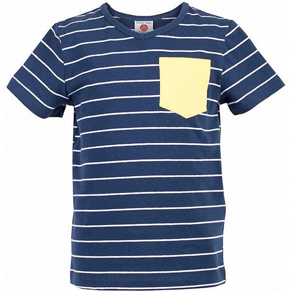 Футболка для мальчика  BUTTON BLUEФутболки, поло и топы<br>Футболка для мальчика  BUTTON BLUE<br>Синяя футболка в полоску - не только базовая вещь в гардеробе ребенка, но и основа модного летнего образа! Если вы решили купить недорогую футболку для мальчика, выберете футболку от Button Blue с V-образной горловиной и контрастным карманом. Маленькая яркая деталь - изюминка модели, создающая настроение! Низкая цена изделия не окажет влияния на бюджет семьи, позволив создать интересный гардероб для долгожданных каникул!<br>Состав:<br>95% хлопок 5% эластан<br>Ширина мм: 199; Глубина мм: 10; Высота мм: 161; Вес г: 151; Цвет: синий; Возраст от месяцев: 48; Возраст до месяцев: 60; Пол: Мужской; Возраст: Детский; Размер: 110,98,158,104,152,146,140,128,122,116; SKU: 5524175;