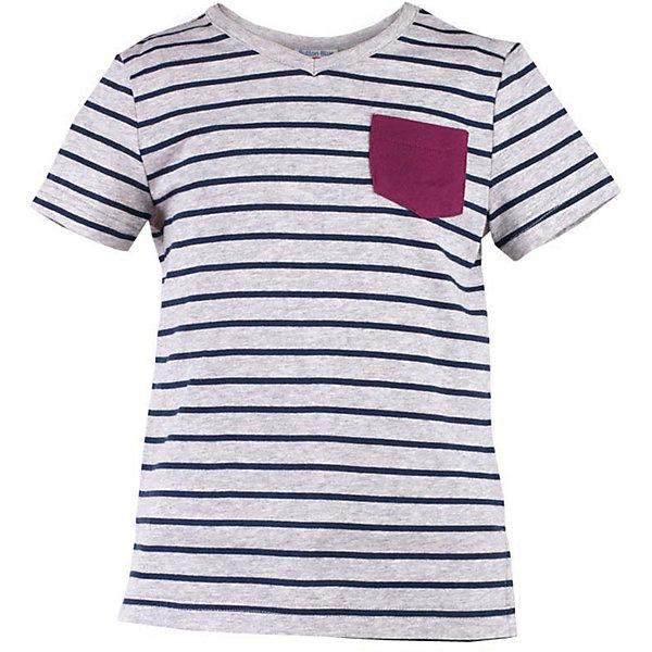 Футболка для мальчика  BUTTON BLUEФутболки, поло и топы<br>Футболка для мальчика  BUTTON BLUE<br>Серая меланжевая футболка в полоску - не только базовая вещь в гардеробе ребенка, но и основа модного летнего образа! Если вы решили купить недорогую футболку для мальчика, выберете футболку от Button Blue с V-образной горловиной и контрастным карманом. Маленькая яркая деталь - изюминка модели, создающая настроение! Низкая цена изделия не окажет влияния на бюджет семьи, позволив создать интересный гардероб для долгожданных каникул!<br>Состав:<br>95% хлопок 5% эластан<br>Ширина мм: 199; Глубина мм: 10; Высота мм: 161; Вес г: 151; Цвет: серый; Возраст от месяцев: 24; Возраст до месяцев: 36; Пол: Мужской; Возраст: Детский; Размер: 98,158,152,146,140,134,128,122,116,110,104; SKU: 5524186;