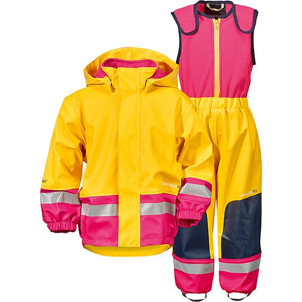 Непромокаемый комплект BOARDMAN для девочки DIDRIKSONSВерхняя одежда<br>Детский костюм из абсолютно водронепроницаемого мягкого полиуретана Galon на подкладке из флиса. Все швы проклеены, что обеспечивает максимальную защиту от внешней влаги. Регулируемый съемный капюшон и пояс брюк. Резинки для ботинок. Фронтальная молния под планкой. Зона коленей усилена дополнительным слоем ткани. Светоотражатели. Ткань - износоустойчивая, за ней легко ухаживать - грязь легко удаляется с помощью влажной губки или ткани. Костюм незаменим в ненастную прохладную погоду, рассчитан на температуру от 0 до +7. Ребёнок будет счастлив обмерить все лужи, залезть на все сугробы и прокатиться на грязных горках и останется сухим, а мама довольной.<br>Состав:<br>Верх - 100% полиуретан, подкладка - 100% полиэстер<br>Ширина мм: 356; Глубина мм: 10; Высота мм: 245; Вес г: 519; Цвет: желтый; Возраст от месяцев: 6; Возраст до месяцев: 9; Пол: Женский; Возраст: Детский; Размер: 70,80; SKU: 5527191;
