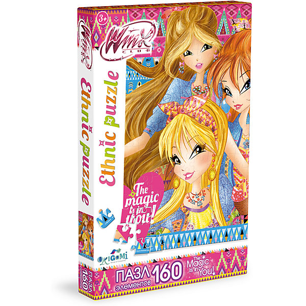 Пазл Магия в тебе, Winx Club, OrigamiПазлы для малышей<br>Пазл Магия в тебе, Winx Club, Origami<br><br>Характеристики:<br><br>• Количество деталей: 160 шт.<br>• Размер упаковки: 26,5 * 3,5 * 17,5 см.<br>• Размер готовой картинки: 22 * 33 см.<br>• Состав: картон<br>• Вес: 120 г.<br>• Для детей в возрасте: от 3 до 6 лет<br>• Страна производитель: Россия<br><br>На картинке изображены любимые героини: Блум, Флора и Стелла в красивых этнических нарядах. Лицензионный пазл с оригинальным дизайном соответствует высоким стандартам, которые подтверждены сертификатами качества. Пазл отлично собирается, некоторые части картинки повторяются по цвету, это сделает сборку немного сложнее и интереснее. Закончив сборку вы можете склеить кусочки превратив пазл в красивую картину, или можете разобрать его и снова собрать позже.<br><br>Пазл Магия в тебе, Winx Club, Origami можно купить в нашем интернет-магазине<br>Ширина мм: 265; Глубина мм: 35; Высота мм: 175; Вес г: 120; Возраст от месяцев: 36; Возраст до месяцев: 72; Пол: Унисекс; Возраст: Детский; SKU: 5528439;
