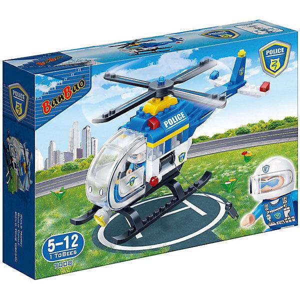 Конструктор Полицейский вертолет, 122 дет., BanBaoПластмассовые конструкторы<br>Характеристики:<br><br>• тип игрушки: конструктор;<br>• возраст: от 5 лет;<br>• количество деталей: 122 шт;<br>• размер: 28,2х19х5,6 см;<br>• бренд: BanBao;<br>• упаковка: картонная коробка;<br>• материал: пластик.<br><br>Конструктор «Полицейский вертолет», 122 дет., BanBao познакомит ребенка с опасной и востребованной профессией. В набор входят элементы в количестве 122 штуки, которые легко стыкуются между собой креплению. Детали сделаны из нетоксичного пластика и отличаются высокой прочностью и износоустойчивостью.<br><br> Вертолёт прекрасно детализирован, на крыше установлены проблесковые маячки, на кузове надписи «Police», он оснащён мощным прожектором и лебедкой с крюком. В комплекте находится игровая фигурка пилота. Элементы конструктора можно комбинировать с другими деталями данной серии и создавать их них тематические композиции для увлекательных игровых сюжетов.<br><br>Занятия с конструктором развивают концентрацию внимания, усидчивость, логическое и пространственное мышление, а также совершенствуют моторику рук. Этот набор подойдет для детей от 5 лет и старше.<br><br>Конструктор «Полицейский вертолет», 122 дет., BanBao можно купить в нашем интернет-магазине.<br>Ширина мм: 280; Глубина мм: 190; Высота мм: 56; Вес г: 417; Возраст от месяцев: 60; Возраст до месяцев: 1188; Пол: Мужской; Возраст: Детский; SKU: 5528507;