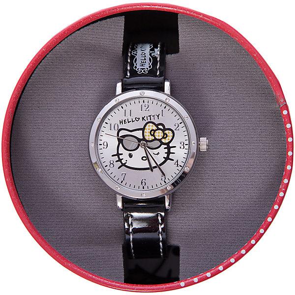 Часы наручные аналоговые, Hello KittyHello Kitty<br>Эксклюзивные наручные аналоговые часы торговой марки Hello Kitty выполнены по индивидуальному дизайну ООО «Детское Время» и лицензии компании Sanrio. Обилие деталей - декоративных элементов (страз, мерцающих ремешков), надписей,  уникальных изображений - делают изделие тщательно продуманным творением мастеров. Часы имеют высококачественный японский кварцевый механизм и отличаются надежностью и точностью хода. Часы водоустойчивы и обладают достаточной герметичностью, чтобы спокойно перенести случайный и незначительный контакт с жидкостями (дождь, брызги), но они не предназначены для плавания или погружения в воду. Циферблат защищен от повреждений прочным минеральным стеклом. Корпус часов выполнен из стали,  задняя крышка из нержавеющей стали. Материал браслета: искусственная кожа. Единица товара упаковывается в стильную подарочную коробочку. Неповторимый стиль с изобилием насыщенных и в тоже время нежных гамм; надежность и прочность изделия позволяют говорить о нем только в превосходной степени!<br>Ширина мм: 55; Глубина мм: 10; Высота мм: 250; Вес г: 27; Возраст от месяцев: 36; Возраст до месяцев: 72; Пол: Женский; Возраст: Детский; SKU: 5529331;