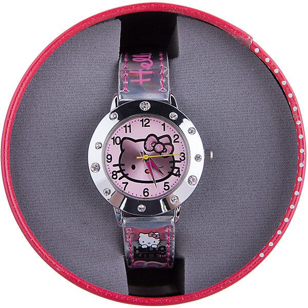 Часы наручные аналоговые, Hello KittyHello Kitty<br>Эксклюзивные наручные аналоговые часы торговой марки Hello Kitty выполнены по индивидуальному дизайну ООО «Детское Время» и лицензии компании Sanrio. Обилие деталей - декоративных элементов (страз, мерцающих ремешков), надписей,  уникальных изображений - делают изделие тщательно продуманным творением мастеров. Часы имеют высококачественный японский кварцевый механизм и отличаются надежностью и точностью хода. Часы водоустойчивы и обладают достаточной герметичностью, чтобы спокойно перенести случайный и незначительный контакт с жидкостями (дождь, брызги), но они не предназначены для плавания или погружения в воду. Циферблат защищен от повреждений прочным минеральным стеклом. Корпус часов выполнен из стали,  задняя крышка из нержавеющей стали. Материал браслета: искусственная кожа. Единица товара упаковывается в стильную подарочную коробочку. Неповторимый стиль с изобилием насыщенных и в тоже время нежных гамм; надежность и прочность изделия позволяют говорить о нем только в превосходной степени!<br>Ширина мм: 55; Глубина мм: 10; Высота мм: 250; Вес г: 29; Возраст от месяцев: 36; Возраст до месяцев: 72; Пол: Женский; Возраст: Детский; SKU: 5529338;