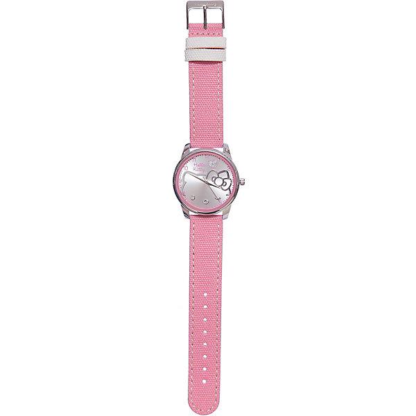 Часы наручные аналоговые, Hello KittyАксессуары<br>Эксклюзивные наручные аналоговые часы торговой марки Hello Kitty выполнены по индивидуальному дизайну ООО «Детское Время» и лицензии компании Sanrio. Обилие деталей - декоративных элементов (страз, мерцающих ремешков), надписей,  уникальных изображений - делают изделие тщательно продуманным творением мастеров. Часы имеют высококачественный японский кварцевый механизм и отличаются надежностью и точностью хода. Часы водоустойчивы и обладают достаточной герметичностью, чтобы спокойно перенести случайный и незначительный контакт с жидкостями (дождь, брызги), но они не предназначены для плавания или погружения в воду. Циферблат защищен от повреждений прочным минеральным стеклом. Корпус часов выполнен из стали,  задняя крышка из нержавеющей стали. Материал браслета: искусственная кожа. Единица товара упаковывается в стильную подарочную коробочку. Неповторимый стиль с изобилием насыщенных и в тоже время нежных гамм; надежность и прочность изделия позволяют говорить о нем только в превосходной степени!<br>Ширина мм: 55; Глубина мм: 10; Высота мм: 250; Вес г: 38; Возраст от месяцев: 36; Возраст до месяцев: 72; Пол: Женский; Возраст: Детский; SKU: 5529343;