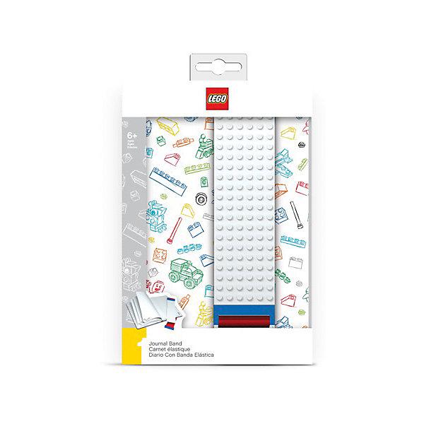 LEGO Записная книжка, 96 листов, линейка, с закладкой, цвет: белый,