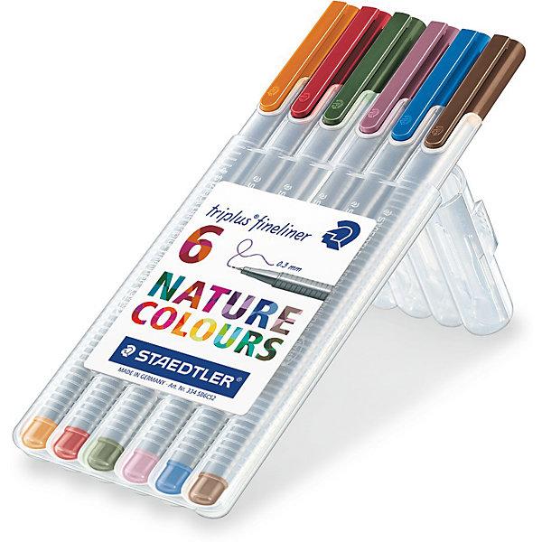 Капиллярная ручка Triplus 6 цв/наб, цвета природыРучки<br>Капиллярная ручка Triplus 6 цв/наб, цвета природы.<br><br>Характеристики:<br><br>• В наборе: 6 разноцветных ручек (натуральные цвета природы)<br>• Цвет чернил соответствует цвету колпачка и заглушки<br>• Чернила на водной основе<br>• Отстирывается с большинства тканей<br>• Материал корпуса: полипропилен<br>• Толщина линии: 0,3 мм.<br>• Упаковка: пластиковая коробка подставка<br>• Размер упаковки: 166x66x17 мм.<br>• Вес: 76 гр.<br><br>Набор трехгранных капиллярных ручек Triplus ® fineliner в пластиковой коробке-подставке идеально подходит как для письма и работы с документами, так и для творчества. Эргономичная форма обеспечивает комфортное письмо без усилий и усталости. Супертонкий и особо прочный металлический наконечник гарантирует мягкое и плавное письмо. Уникальная система позволяет оставлять ручку без колпачка на несколько дней без угрозы высыхания (тест ISO). Корпус из полипропилена и большой запас чернил гарантирует долгий срок службы.<br><br>Капиллярную ручку Triplus 6 цв/наб, цвета природы можно купить в нашем интернет-магазине.<br>Ширина мм: 170; Глубина мм: 67; Высота мм: 170; Вес г: 83; Возраст от месяцев: 60; Возраст до месяцев: 2147483647; Пол: Унисекс; Возраст: Детский; SKU: 5529974;