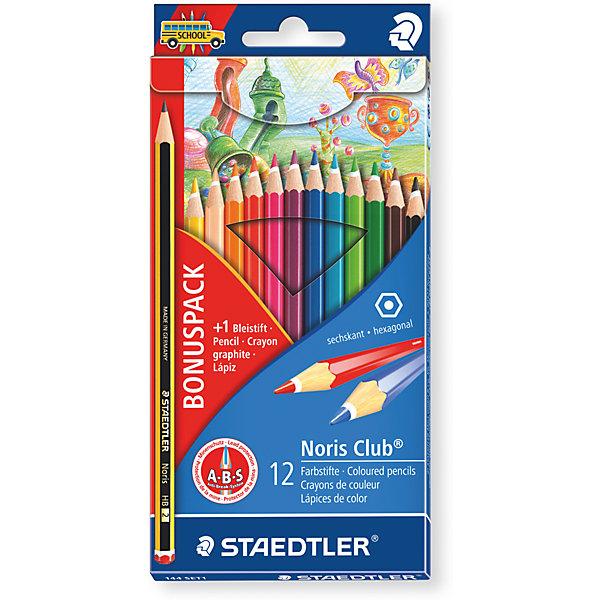 Карандаш цветной Noris Club набор 12 цветовКарандаши<br>Карандаш цветной Noris Club набор 12 цветов.<br><br>Характеристики:<br><br>• Для детей в возрасте: от 3 лет<br>• В наборе: 12 цветных карандашей, 1 чернографитовый карандаш бесплатно<br>• Количество цветов: 12<br>• Материал корпуса: древесина сертифицированных и специально подготовленных лесов<br>• Упаковка: картонная коробка с европодвесом<br>• Карандаши уложены в 1ряд<br>• Размер упаковки: 197x95x8 мм.<br>• Вес: 74 гр.<br><br>Набор цветных карандашей Noris Club, непременно, понравится вашему юному художнику. Набор включает в себя 12 карандашей, ярких сочных цветов и 1 чернографитовый карандаш. Карандаши имеют классическую шестигранную форму, лакированный корпус, очень мягкий и яркий грифель. Система защиты от поломки ABS (Anti-break-system) увеличивает устойчивость и сокращает ломкость грифеля. Карандаши легко затачивать. Корпус карандашей изготовлен из древесины сертифицированных и специально подготовленных лесов.<br><br>Карандаш цветной Noris Club набор 12 цветов можно купить в нашем интернет-магазине.<br>Ширина мм: 190; Глубина мм: 95; Высота мм: 100; Вес г: 750; Возраст от месяцев: 36; Возраст до месяцев: 2147483647; Пол: Унисекс; Возраст: Детский; SKU: 5529976;