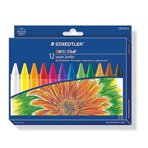 Staedtler Мелок восковой Noris Club Super Jumbo, 12 цветов, Staedtler staedtler staedtler цветные карандаши noris club утолщенные 10 цветов
