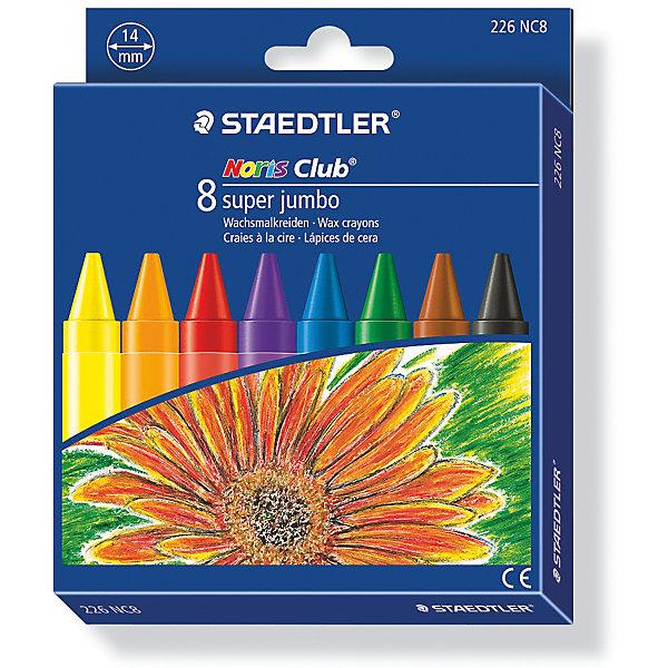 Staedtler Мелок восковой Noris Club Super Jumbo, 8 цветов, Staedtler staedtler staedtler цветные карандаши noris club утолщенные 10 цветов
