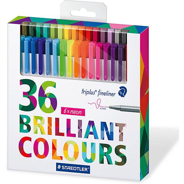 Набор капиллярных ручек Triplus, 36 цветов, яркие цвета, StaedtlerРучки<br>Набор капиллярных ручек Triplus, 36 цветов, яркие цвета, Staedtler (Штедлер).<br><br>Характеристики:<br><br>• Для детей в возрасте: от 5 лет<br>• В наборе: 36 разноцветных ручек<br>• Яркие цвета<br>• Цвет чернил соответствует цвету колпачка и заглушки<br>• Чернила на водной основе<br>• Отстирывается с большинства тканей<br>• Материал корпуса: полипропилен<br>• Толщина линии: 0,3 мм.<br>• Упаковка: картонная коробка с европодвесом<br>• Размер упаковки: 178х175х29 мм.<br>• Вес: 346 гр.<br><br>Набор трехгранных капиллярных ручек Triplus ® fineliner в картонной упаковке с европодвесом идеально подходит как для письма и работы с документами, так и для творчества. Эргономичная форма обеспечивает комфортное письмо без усилий и усталости. Супертонкий и особо прочный металлический наконечник гарантирует мягкое и плавное письмо. Уникальная система позволяет оставлять ручку без колпачка на несколько дней без угрозы высыхания (тест ISO). Корпус из полипропилена и большой запас чернил гарантирует долгий срок службы.<br><br>Набор капиллярных ручек Triplus, 36 цветов, яркие цвета, Staedtler (Штедлер) можно купить в нашем интернет-магазине.<br>Ширина мм: 180; Глубина мм: 174; Высота мм: 300; Вес г: 344; Возраст от месяцев: 60; Возраст до месяцев: 2147483647; Пол: Унисекс; Возраст: Детский; SKU: 5530001;