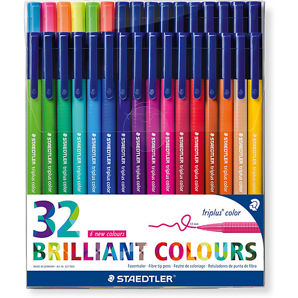 Staedtler Набор фломастеров Triplus Сolor, 32 цвета, трехгранные, яркие цвета