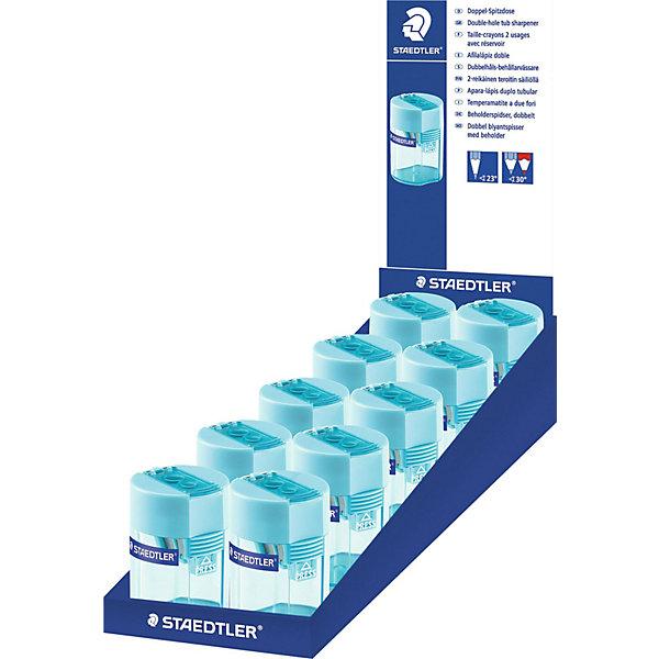 Точилка пластиковая бочонок, голубой, StaedtlerЛастики и точилки<br>Точилка пластиковая бочонок, голубой, Staedtler (Штедлер).<br><br>Характеристики:<br><br>• Для детей в возрасте: от 5 лет<br>• Точилка с 2 отверстиями<br>• Материал корпуса: пластик<br>• Цвет: светло-голубой<br>• Размер упаковки: 58х40х35 мм.<br><br>Пластиковая точилка бочонок с двумя отверстиями разного диаметра подходит для чернографитовых карандашей с углом заточки 23° и для чернографитовых и цветных карандашей серии Jumbo с углом заточки 30°. Точилка имеет металлическую затачивающую часть, безопасный крепеж крышки. Закрытая конструкция предотвращает высыпание мусора во время заточки.<br><br>Точилку пластиковую бочонок, голубую, Staedtler (Штедлер) можно купить в нашем интернет-магазине.<br>Ширина мм: 40; Глубина мм: 41; Высота мм: 58; Вес г: 26; Возраст от месяцев: 60; Возраст до месяцев: 2147483647; Пол: Унисекс; Возраст: Детский; SKU: 5530009;