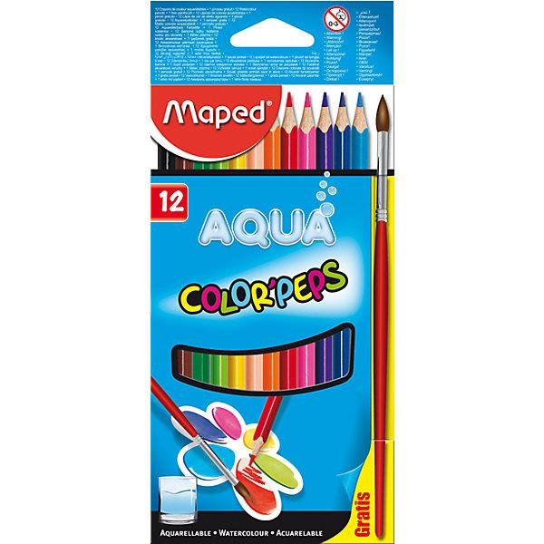 Maped Карандаши акварель COLOR PEP'S AQUA, 12 цветов, MAPED цветные карандаши maped color peps в пластиковой коробке 12 цветов