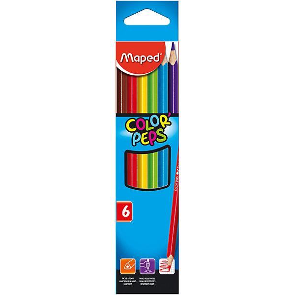 Maped Карандаши цветные COLOR'PEPS, треугольные, 6 цветов, MAPED