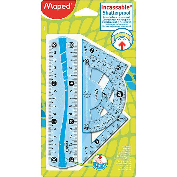 Набор FLEX mini, MAPEDЧертежные наборы<br>Набор FLEX mini, MAPED (МАПЕД).<br><br>Характеристики:<br><br>• Для детей в возрасте: от 6 лет<br>• В наборе: линейка 15 см, угольник 60°/12 см, угольник 45°/12 см, транспортир 180°/10 см.<br>• Материал: пластик<br>• Размер упаковки: 230х120х8 мм.<br><br>Набор неломающихся чертежных инструментов FLEX mini, от MAPED (МАПЕД), выполненный из цветного прозрачного пластика, содержит все, что может понадобиться ученику на уроках математики. Чертежные инструменты разработаны с учетом всех потребностей ребенка. Все чертежные инструменты устойчивы к ударам и изгибам. Разметка шкалы нанесена на внутреннюю поверхность чертежных принадлежностей, что предотвращает ее истирание. Шкала двусторонняя, легкочитаемая, предусмотрено наглядное указание отметки «0» и наглядные индикаторы каждые 5 см. На линейке имеется нескользящая резиновая вставка. Набор удобный, компактный и мобильный.<br><br>Набор FLEX mini, MAPED (МАПЕД) можно купить в нашем интернет-магазине.<br>Ширина мм: 230; Глубина мм: 120; Высота мм: 70; Вес г: 130; Возраст от месяцев: 72; Возраст до месяцев: 2147483647; Пол: Унисекс; Возраст: Детский; SKU: 5530047;