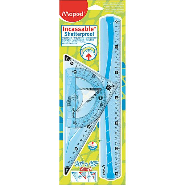Набор Maped FlexЧертежные наборы<br>Набор Maped Flex.<br><br>Характеристики:<br><br>• Для детей в возрасте: от 6 лет<br>• В наборе: линейка 30 см, угольник 2 в 1 с углами 60°/45° 21 см, транспортир с держателем 180°/12 см.<br>• Материал: пластик<br><br>Набор неломающихся чертежных инструментов Flex, от MAPED (МАПЕД), выполненный из цветного прозрачного пластика, содержит все, что может понадобиться ученику на уроках математики. Чертежные инструменты разработаны с учетом всех потребностей ребенка. Все чертежные инструменты устойчивы к ударам и изгибам. Разметка шкалы нанесена на внутреннюю поверхность чертежных принадлежностей, что предотвращает ее истирание. Шкала легкочитаемая, предусмотрено наглядное указание отметки «0» и наглядные индикаторы каждые 5 см. На линейке имеется нескользящая резиновая вставка.<br><br>Набор Maped Flex можно купить в нашем интернет-магазине.<br>Ширина мм: 363; Глубина мм: 130; Высота мм: 10; Вес г: 130; Возраст от месяцев: 72; Возраст до месяцев: 2147483647; Пол: Унисекс; Возраст: Детский; SKU: 5530050;