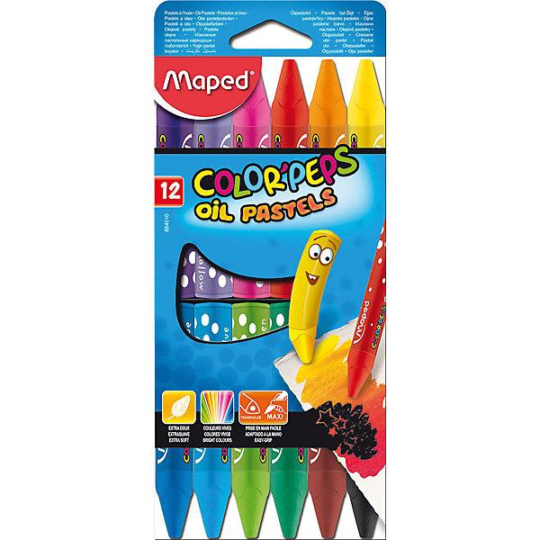 Maped Пастель масляная 12 цветов, MAPED карандаши восковые мелки пастель maped карандаши color peps 12 цветов в тубусе подставке